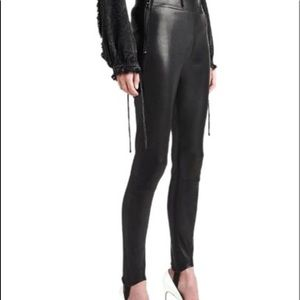 $995 NWT Hudson LEATHER stirrup black pants.